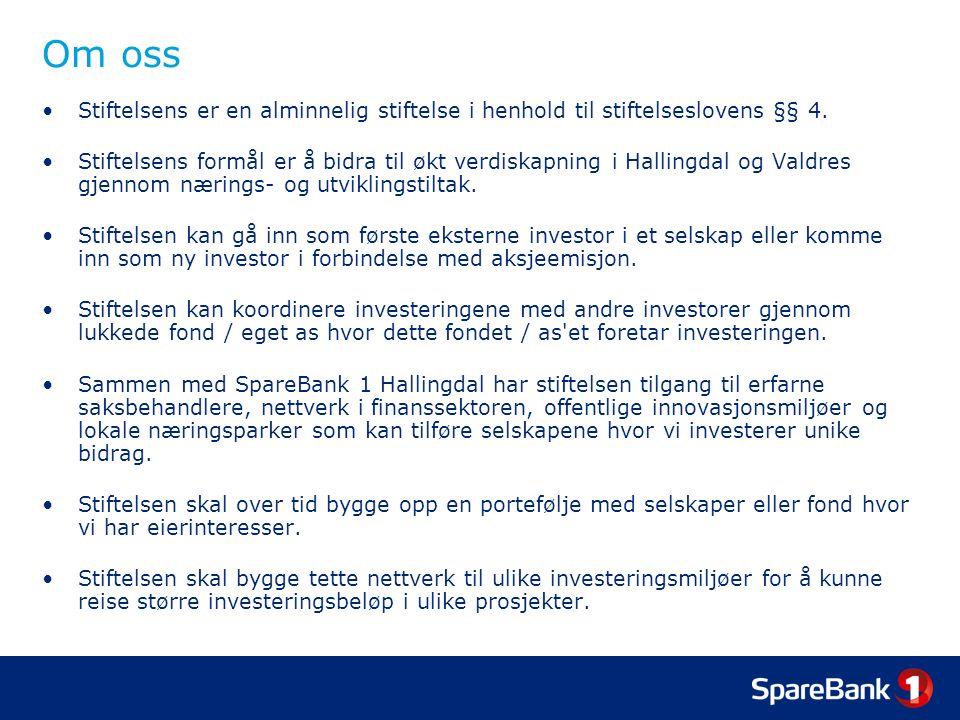 Etter investering I Stiftelsen bidrar med stifelsens, SpareBank 1 Hallingdal s og styremedlemmenes samlede kompetanse.