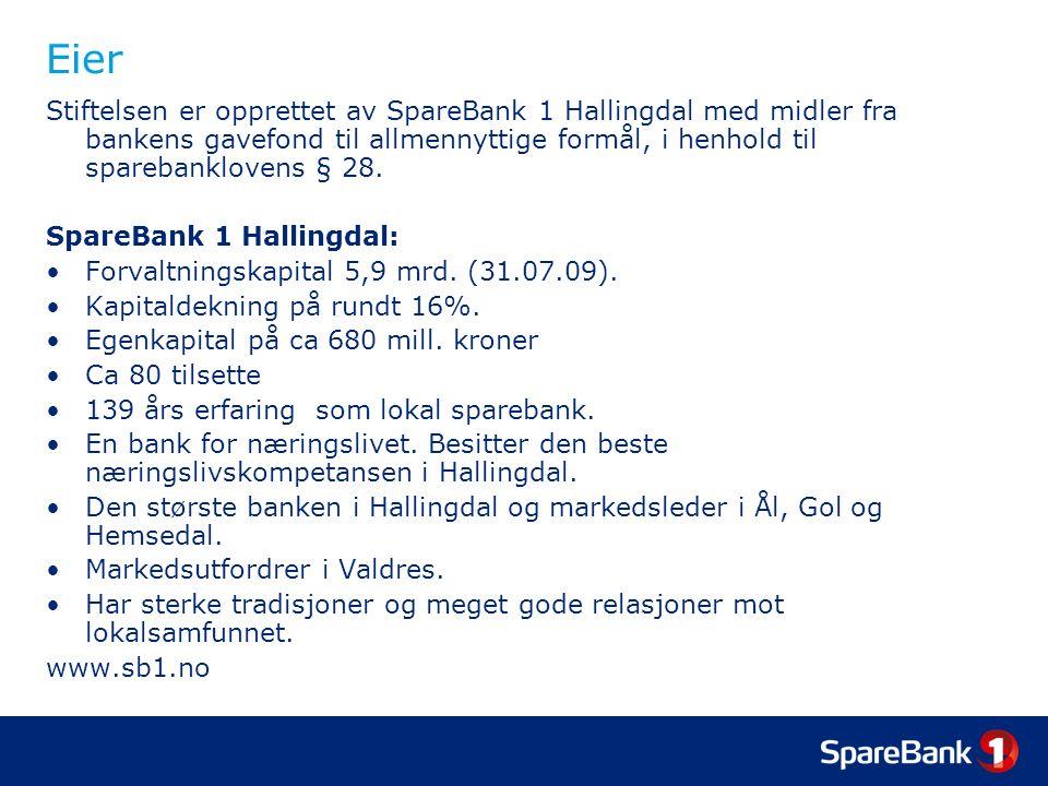 Eier Stiftelsen er opprettet av SpareBank 1 Hallingdal med midler fra bankens gavefond til allmennyttige formål, i henhold til sparebanklovens § 28. S