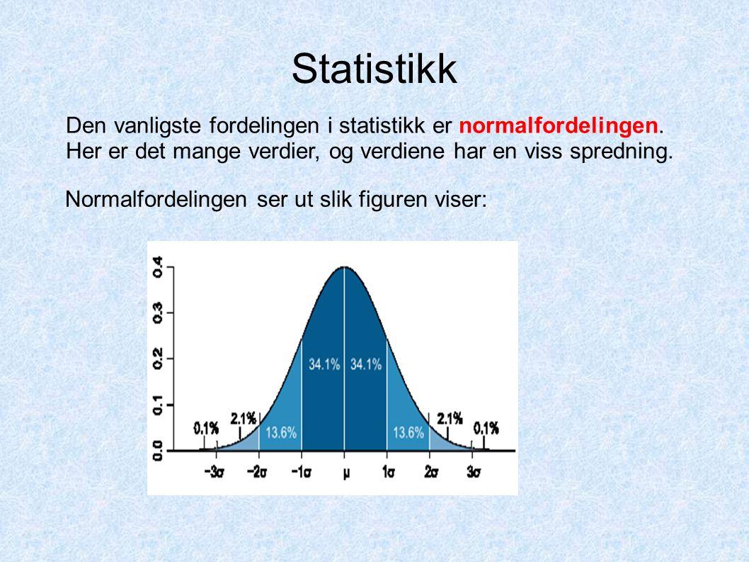 Statistikk Normalfordelingen ser ut slik figuren viser: Den vanligste fordelingen i statistikk er normalfordelingen. Her er det mange verdier, og verd