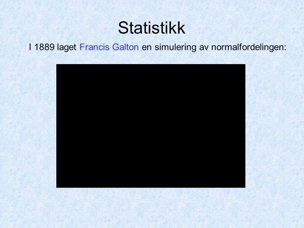 Statistikk I 1889 laget Francis Galton en simulering av normalfordelingen: