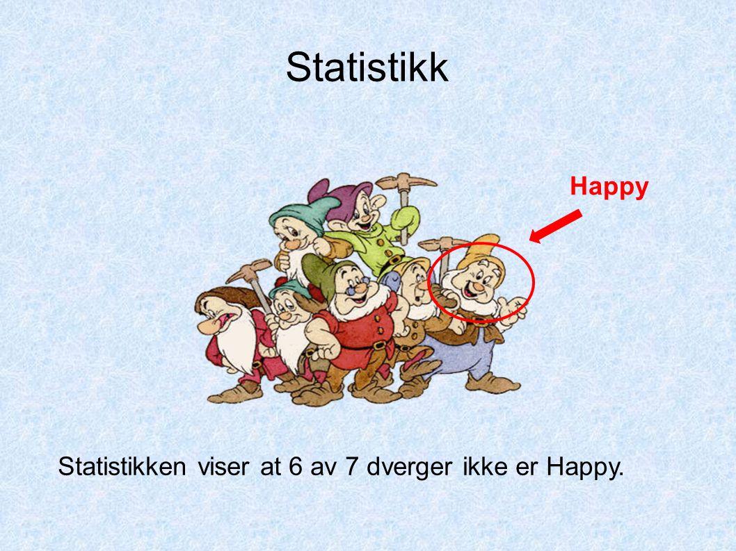 Statistikken viser at 6 av 7 dverger ikke er Happy. Happy