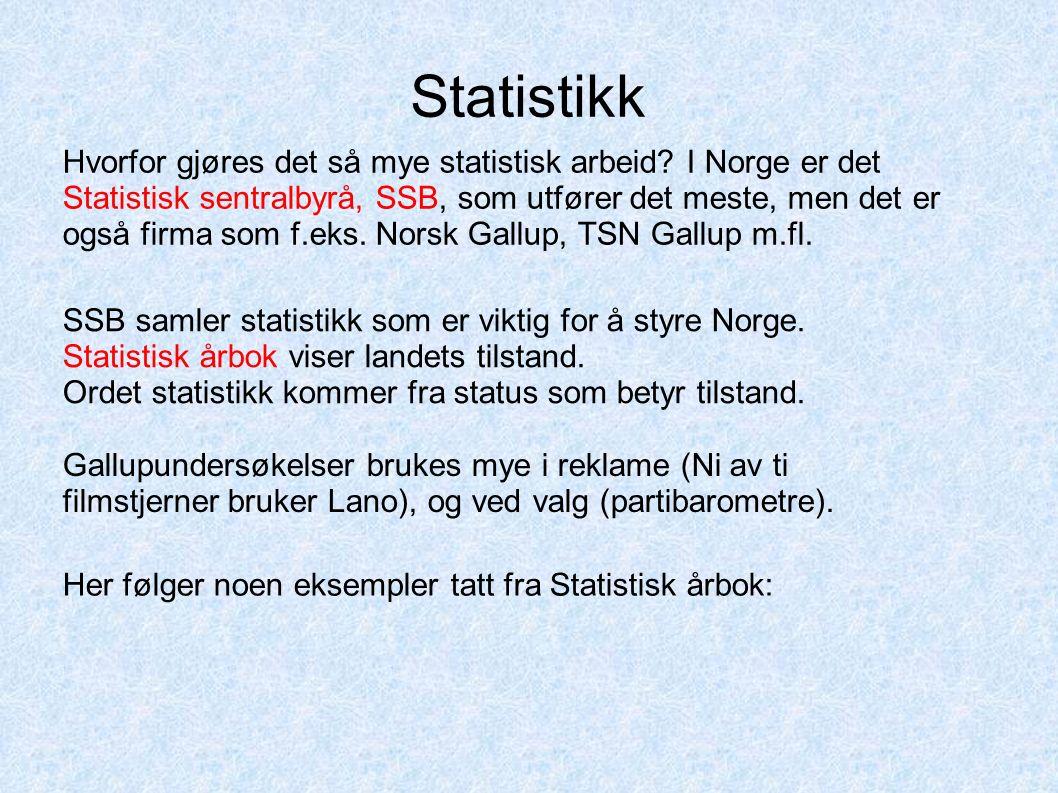 Statistikk Hvorfor gjøres det så mye statistisk arbeid? I Norge er det Statistisk sentralbyrå, SSB, som utfører det meste, men det er også firma som f
