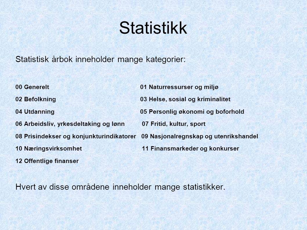 Statistikk Statistisk årbok inneholder mange kategorier: 00 Generelt 01 Naturressurser og miljø 02 Befolkning 03 Helse, sosial og kriminalitet 04 Utda