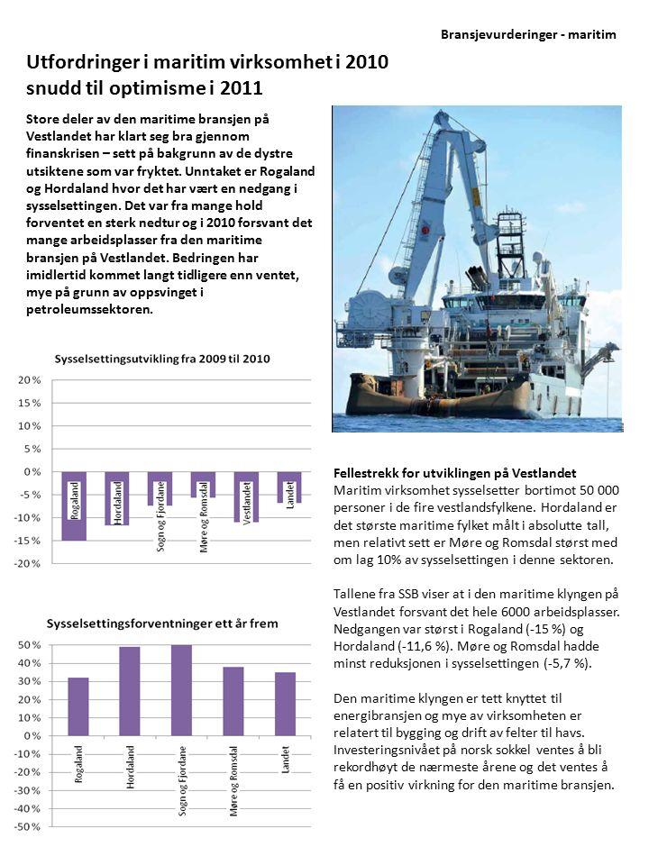 Store deler av den maritime bransjen på Vestlandet har klart seg bra gjennom finanskrisen – sett på bakgrunn av de dystre utsiktene som var fryktet. U