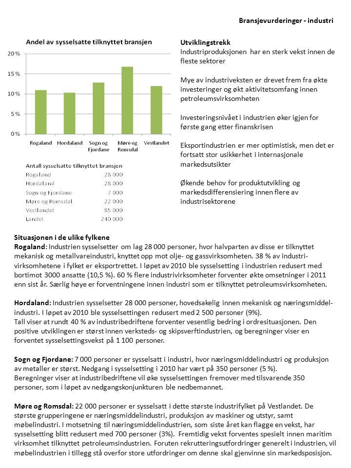 Utviklingstrekk Industriproduksjonen har en sterk vekst innen de fleste sektorer Mye av industriveksten er drevet frem fra økte investeringer og økt a