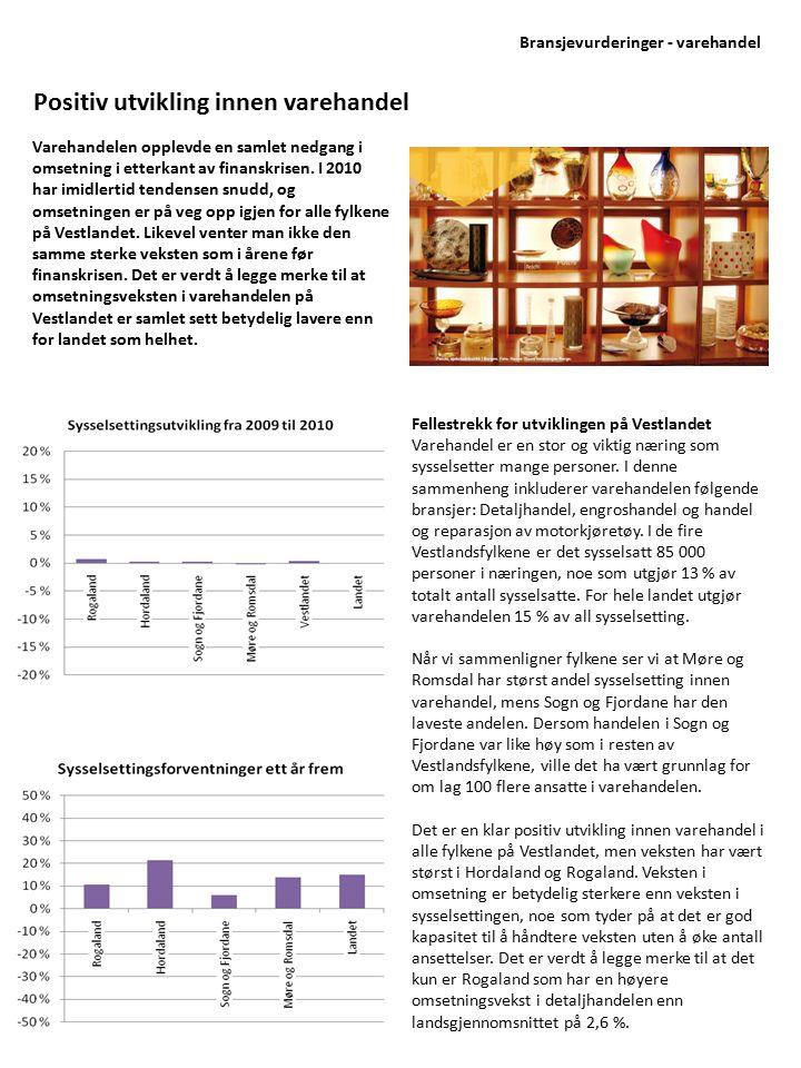 Varehandelen opplevde en samlet nedgang i omsetning i etterkant av finanskrisen. I 2010 har imidlertid tendensen snudd, og omsetningen er på veg opp i