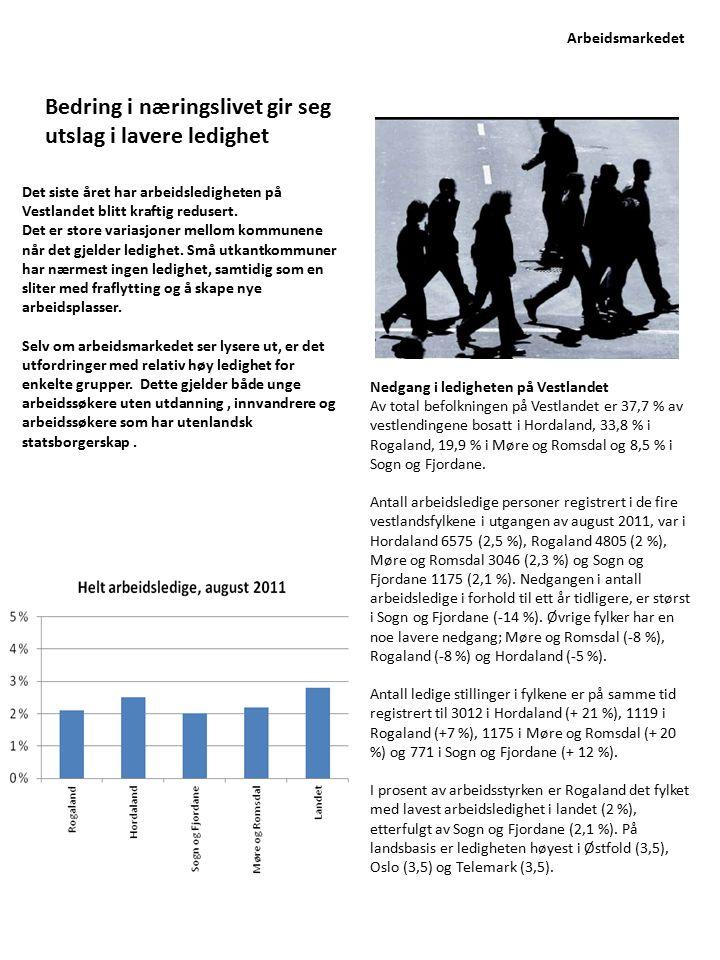 Det siste året har arbeidsledigheten på Vestlandet blitt kraftig redusert. Det er store variasjoner mellom kommunene når det gjelder ledighet. Små utk