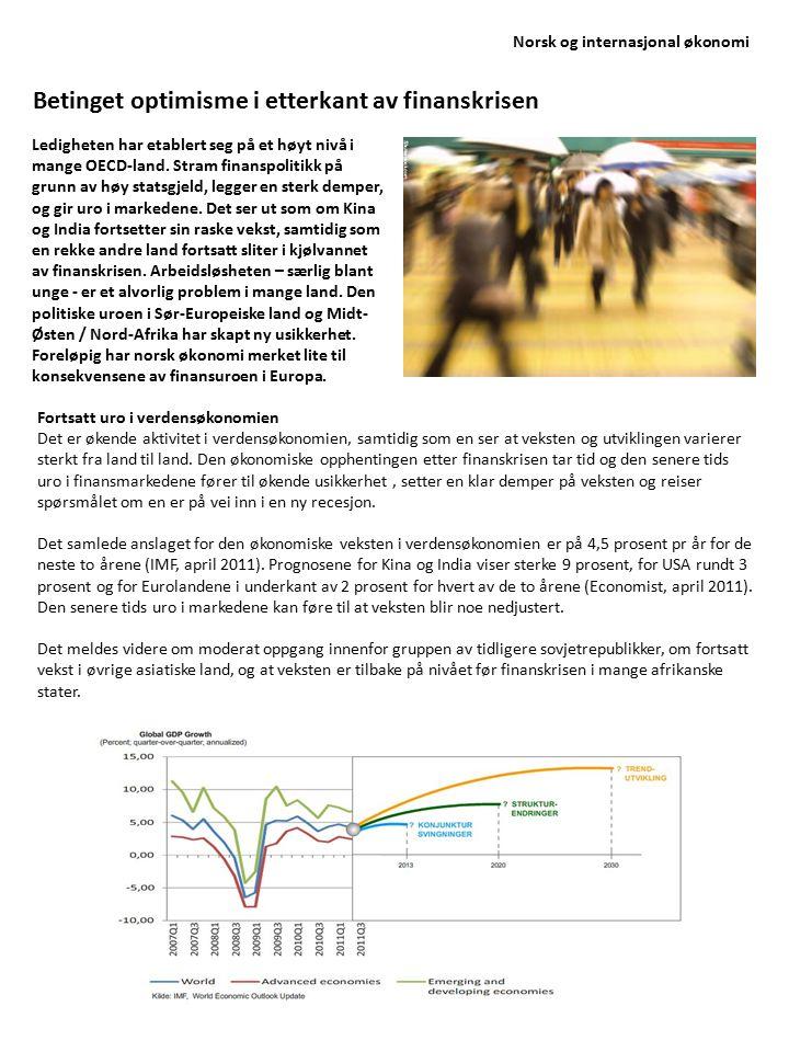 Norsk og internasjonal økonomi Optimisme med nedsiderisiko Utviklingstrekkene gir på mange måter grunnlag for en betinget optimisme for de nærmeste årene.