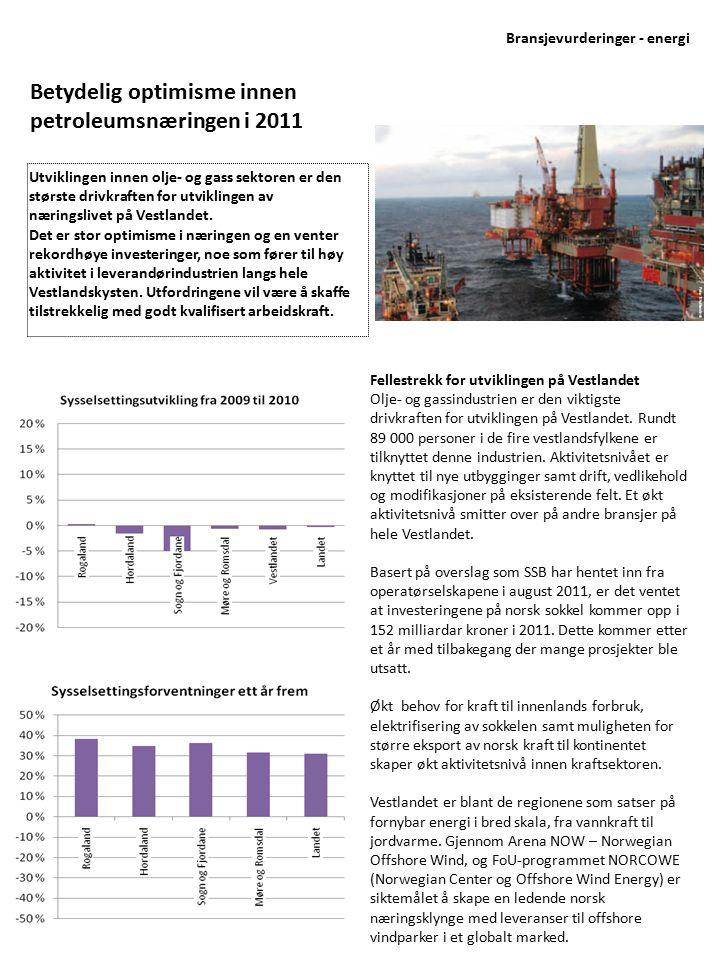 Utviklingstrekk Investeringsnivået innen olje- og gassektoren er ventet å bli rekordhøyt med hele 172 milliarder kroner i 2012 De neste årene er det ventet spesiell økning innen drift, vedlikehold og modifikasjon samt boring.