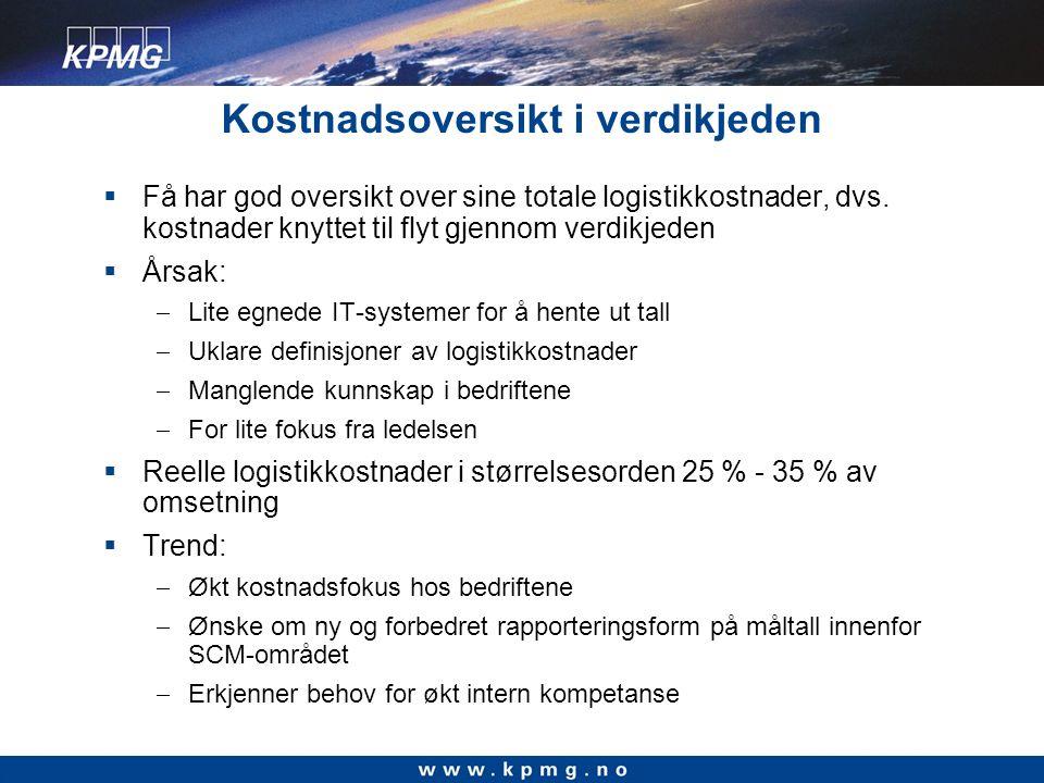 Kostnadsoversikt i verdikjeden  Få har god oversikt over sine totale logistikkostnader, dvs.