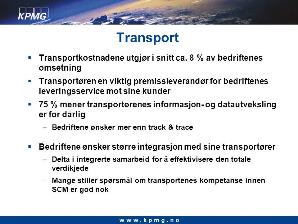 Transport  Transportkostnadene utgjør i snitt ca.