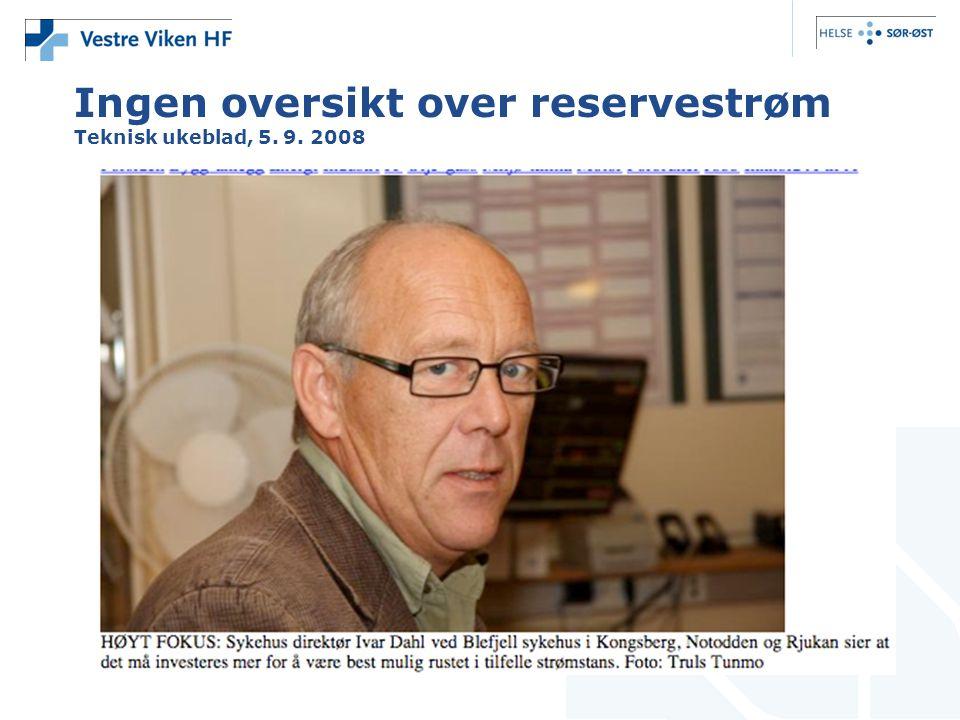 Ingen oversikt over reservestrøm Teknisk ukeblad, 5. 9. 2008