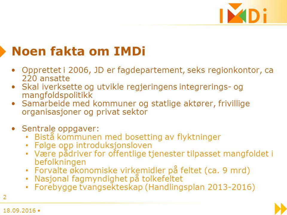 Noen fakta om IMDi Opprettet i 2006, JD er fagdepartement, seks regionkontor, ca 220 ansatte Skal iverksette og utvikle regjeringens integrerings- og