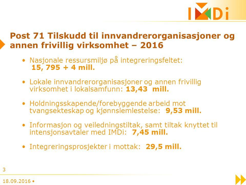 Post 71 Tilskudd til innvandrerorganisasjoner og annen frivillig virksomhet – 2016 Nasjonale ressursmiljø på integreringsfeltet: 15, 795 + 4 mill.