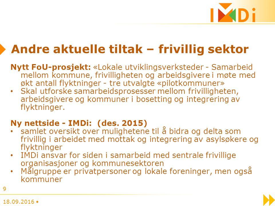 Andre aktuelle tiltak – frivillig sektor Frivillighet Norge: ny nettportal for rekruttering av frivillige (lansering 3.