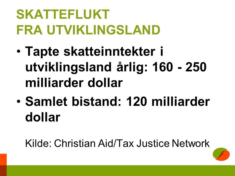 SKATTEFLUKT FRA UTVIKLINGSLAND Tapte skatteinntekter i utviklingsland årlig: 160 - 250 milliarder dollar Samlet bistand: 120 milliarder dollar Kilde: Christian Aid/Tax Justice Network