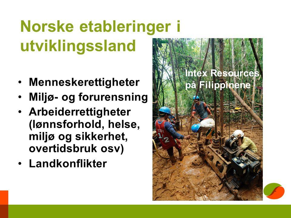 Norske etableringer i utviklingssland Menneskerettigheter Miljø- og forurensning Arbeiderrettigheter (lønnsforhold, helse, miljø og sikkerhet, overtidsbruk osv) Landkonflikter Intex Resources på Filippinene