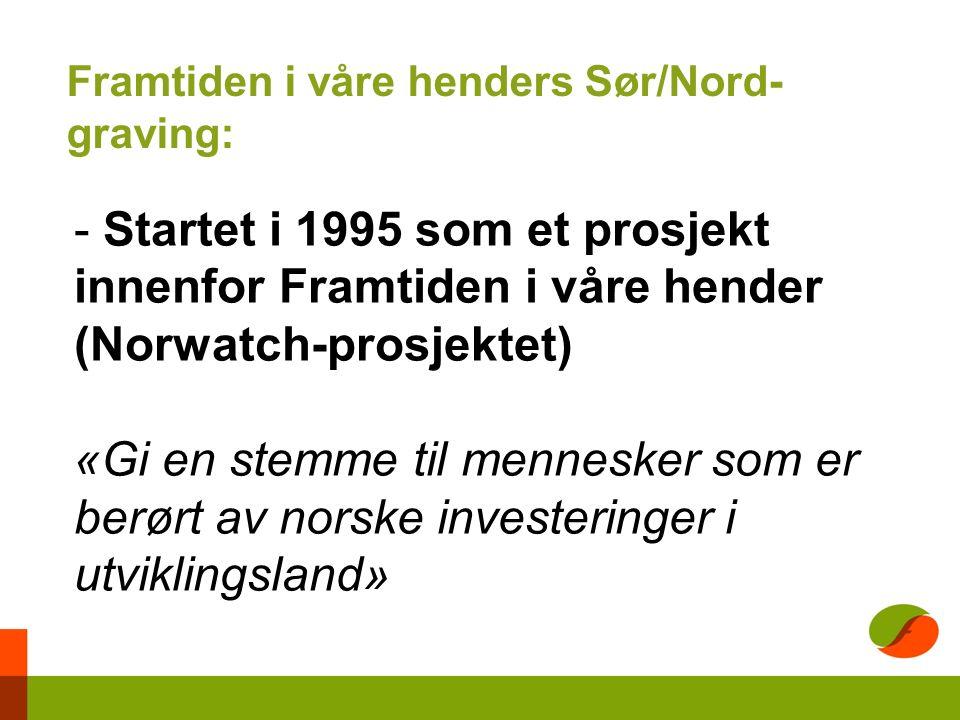 - Startet i 1995 som et prosjekt innenfor Framtiden i våre hender (Norwatch-prosjektet) «Gi en stemme til mennesker som er berørt av norske investeringer i utviklingsland» Framtiden i våre henders Sør/Nord- graving: