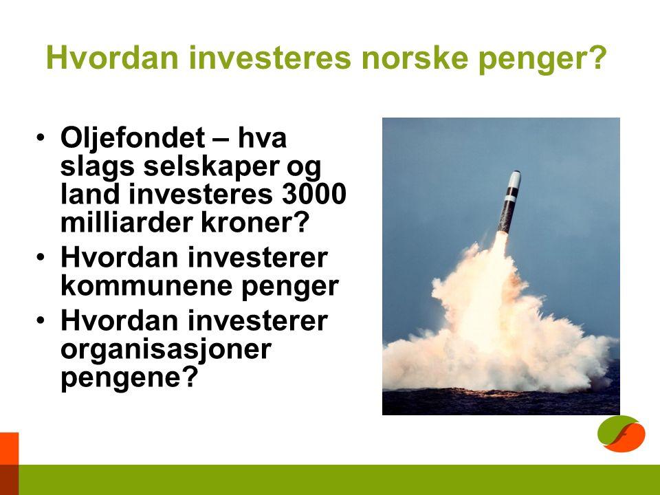 Hvordan investeres norske penger.