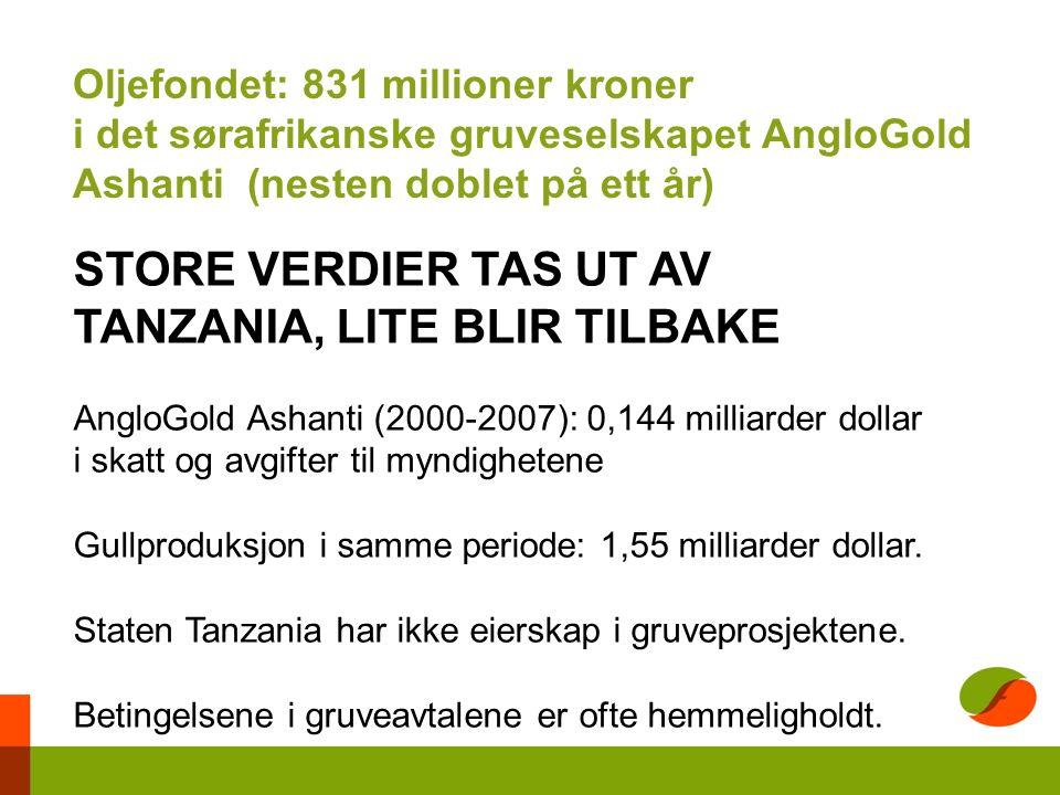 Oljefondet: 831 millioner kroner i det sørafrikanske gruveselskapet AngloGold Ashanti (nesten doblet på ett år) STORE VERDIER TAS UT AV TANZANIA, LITE BLIR TILBAKE AngloGold Ashanti (2000-2007): 0,144 milliarder dollar i skatt og avgifter til myndighetene Gullproduksjon i samme periode: 1,55 milliarder dollar.