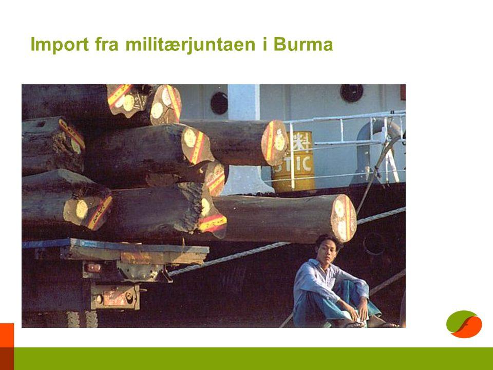 Import fra militærjuntaen i Burma