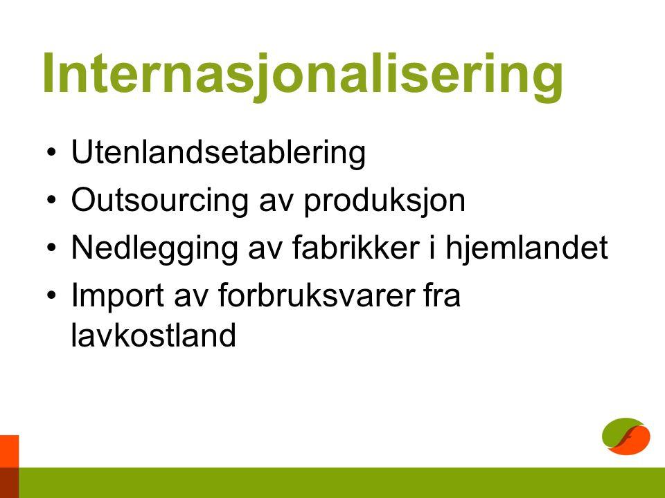 Internasjonalisering Utenlandsetablering Outsourcing av produksjon Nedlegging av fabrikker i hjemlandet Import av forbruksvarer fra lavkostland