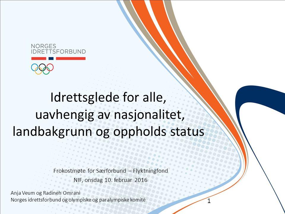 Idrettsglede for alle, uavhengig av nasjonalitet, landbakgrunn og oppholds status Frokostmøte for Særforbund – Flyktningfond NIF, onsdag 10.