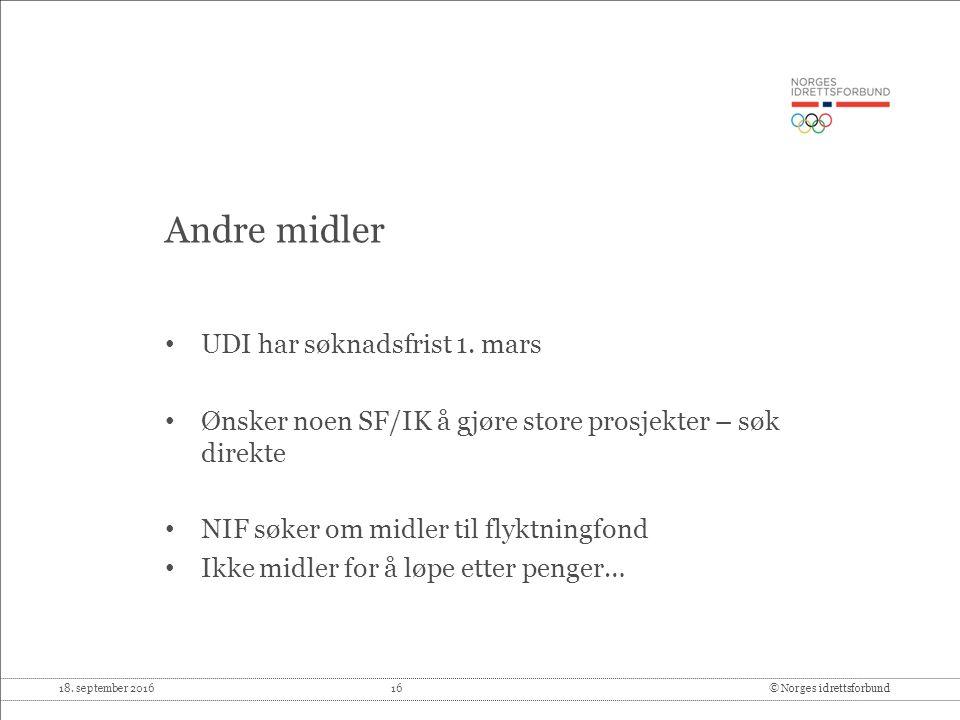 18. september 2016 16© Norges idrettsforbund Andre midler UDI har søknadsfrist 1.