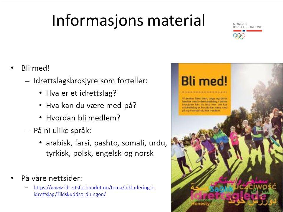 Informasjons material Bli med. – Idrettslagsbrosjyre som forteller: Hva er et idrettslag.