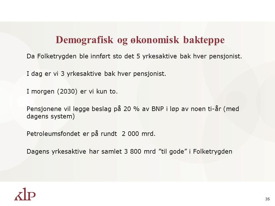 35 Demografisk og økonomisk bakteppe Da Folketrygden ble innført sto det 5 yrkesaktive bak hver pensjonist.