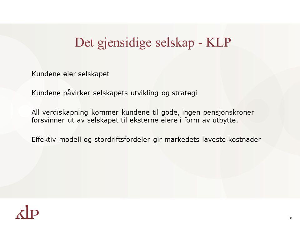 5 Det gjensidige selskap - KLP Kundene eier selskapet Kundene påvirker selskapets utvikling og strategi All verdiskapning kommer kundene til gode, ingen pensjonskroner forsvinner ut av selskapet til eksterne eiere i form av utbytte.