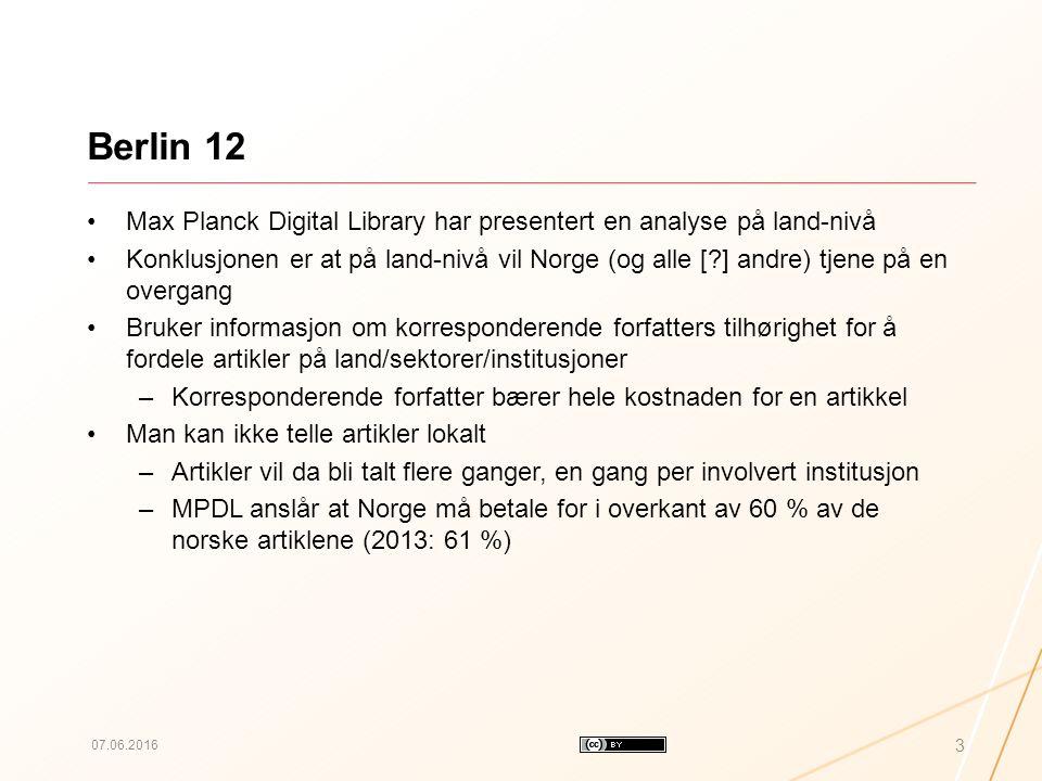 Berlin 12 Max Planck Digital Library har presentert en analyse på land-nivå Konklusjonen er at på land-nivå vil Norge (og alle [?] andre) tjene på en overgang Bruker informasjon om korresponderende forfatters tilhørighet for å fordele artikler på land/sektorer/institusjoner –Korresponderende forfatter bærer hele kostnaden for en artikkel Man kan ikke telle artikler lokalt –Artikler vil da bli talt flere ganger, en gang per involvert institusjon –MPDL anslår at Norge må betale for i overkant av 60 % av de norske artiklene (2013: 61 %) 07.06.2016 3