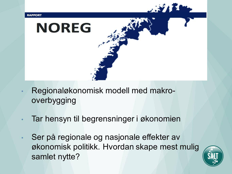 Regionaløkonomisk modell med makro- overbygging Tar hensyn til begrensninger i økonomien Ser på regionale og nasjonale effekter av økonomisk politikk.