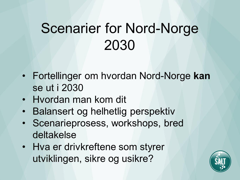 Scenarier for Nord-Norge 2030 Fortellinger om hvordan Nord-Norge kan se ut i 2030 Hvordan man kom dit Balansert og helhetlig perspektiv Scenarieprosess, workshops, bred deltakelse Hva er drivkreftene som styrer utviklingen, sikre og usikre