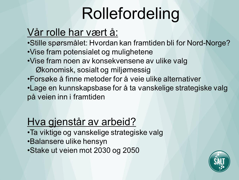 Vår rolle har vært å: Stille spørsmålet: Hvordan kan framtiden bli for Nord-Norge? Vise fram potensialet og mulighetene Vise fram noen av konsekvensen