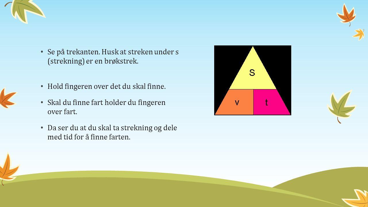 Se på trekanten. Husk at streken under s (strekning) er en brøkstrek.