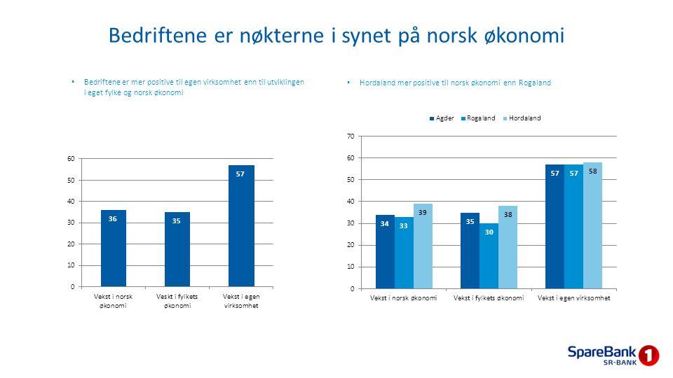 Bedriftene er nøkterne i synet på norsk økonomi Bedriftene er mer positive til egen virksomhet enn til utviklingen i eget fylke og norsk økonomi Horda