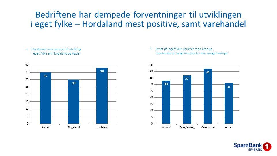 Hordaland mer positive til utvikling i eget fylke enn Rogaland og Agder. Synet på eget fylke varierer med bransje. Varehandel er langt mer positiv enn