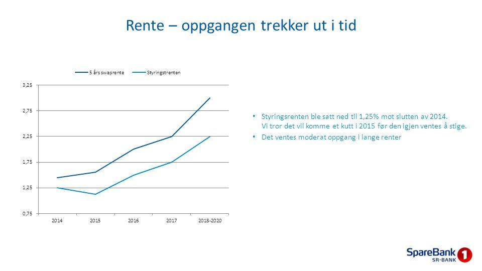 Rente – oppgangen trekker ut i tid Styringsrenten ble satt ned til 1,25% mot slutten av 2014. Vi tror det vil komme et kutt i 2015 før den igjen vente