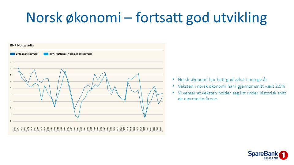 Norsk økonomi – fortsatt god utvikling Norsk økonomi har hatt god vekst i mange år Veksten i norsk økonomi har i gjennomsnitt vært 2,5% Vi venter at v