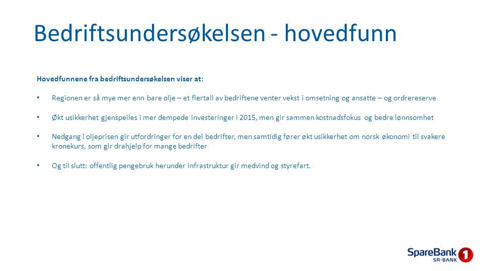 Bedriftsundersøkelsen - oppsummering Bedriftene er mer positive til egen virksomhet enn til norsk økonomi og eget fylke.