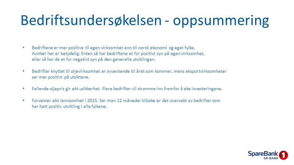 Bedriftsundersøkelsen - oppsummering Bedriftene er mer positive til egen virksomhet enn til norsk økonomi og eget fylke. Avviket her er betydelig. Ent