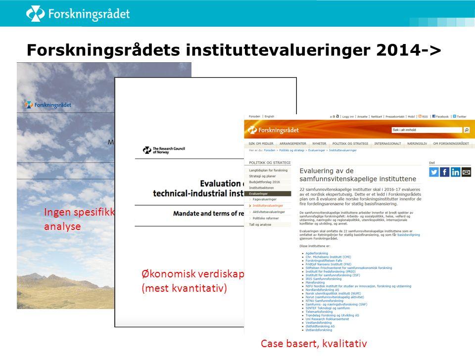 Forskningsrådets instituttevalueringer 2014-> Ingen spesifikk effekt- analyse Økonomisk verdiskapning (mest kvantitativ) Case basert, kvalitativ