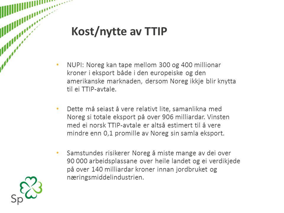 Kost/nytte av TTIP NUPI: Noreg kan tape mellom 300 og 400 millionar kroner i eksport både i den europeiske og den amerikanske marknaden, dersom Noreg ikkje blir knytta til ei TTIP-avtale.