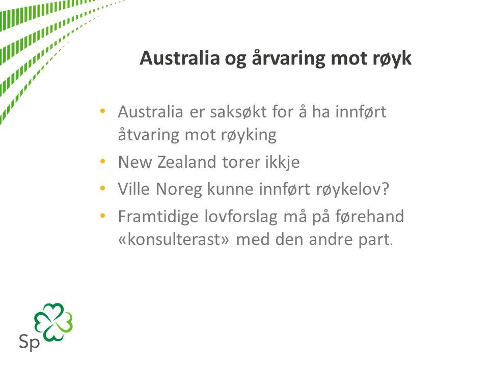Australia og årvaring mot røyk Australia er saksøkt for å ha innført åtvaring mot røyking New Zealand torer ikkje Ville Noreg kunne innført røykelov.