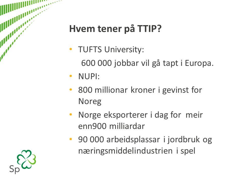 Hvem tener på TTIP. TUFTS University: 600 000 jobbar vil gå tapt i Europa.