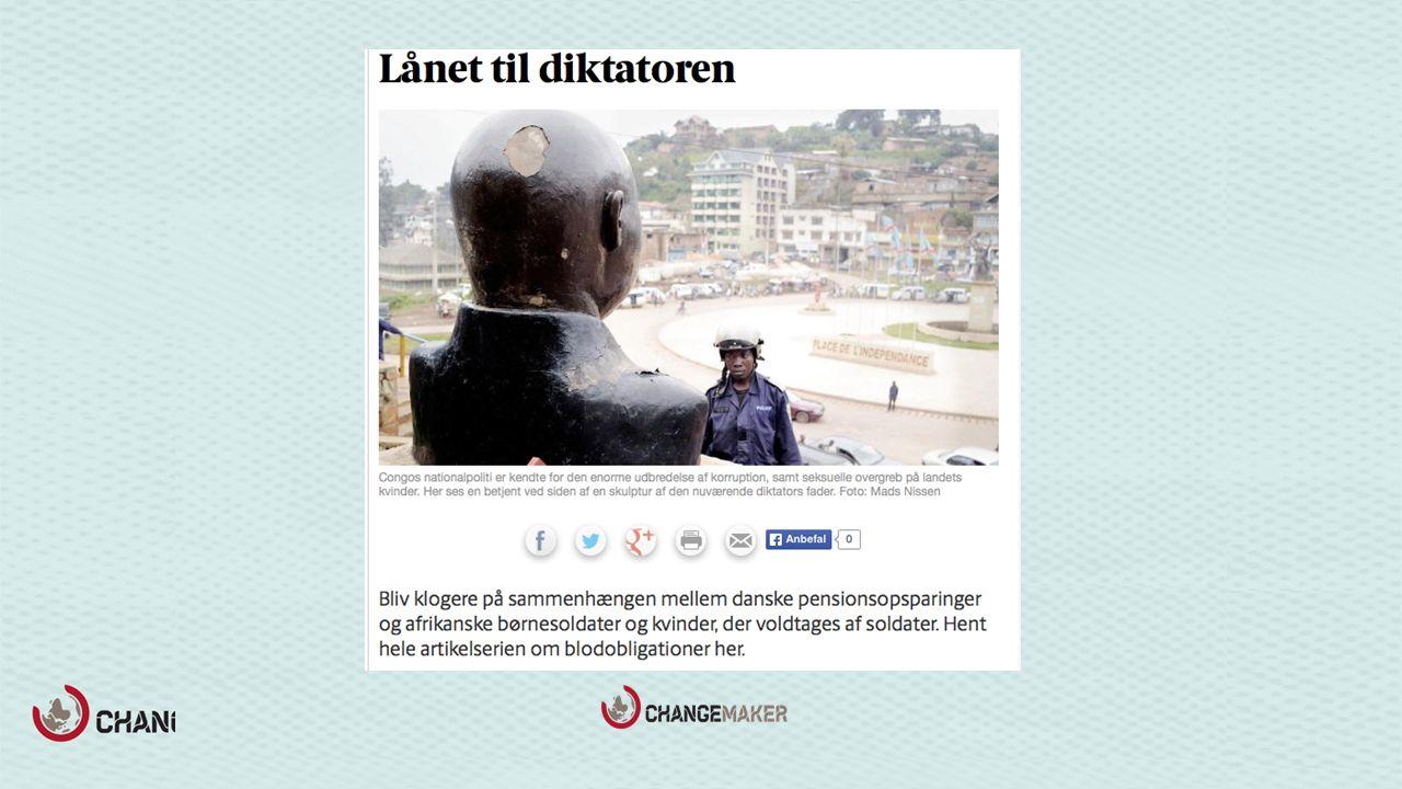 Berlingske Tidende, 2012 11 danske kommuner Blant annet Den demokratiske republikken Kongo, Angola, Gabon og NIgeria 1,8 mrd.