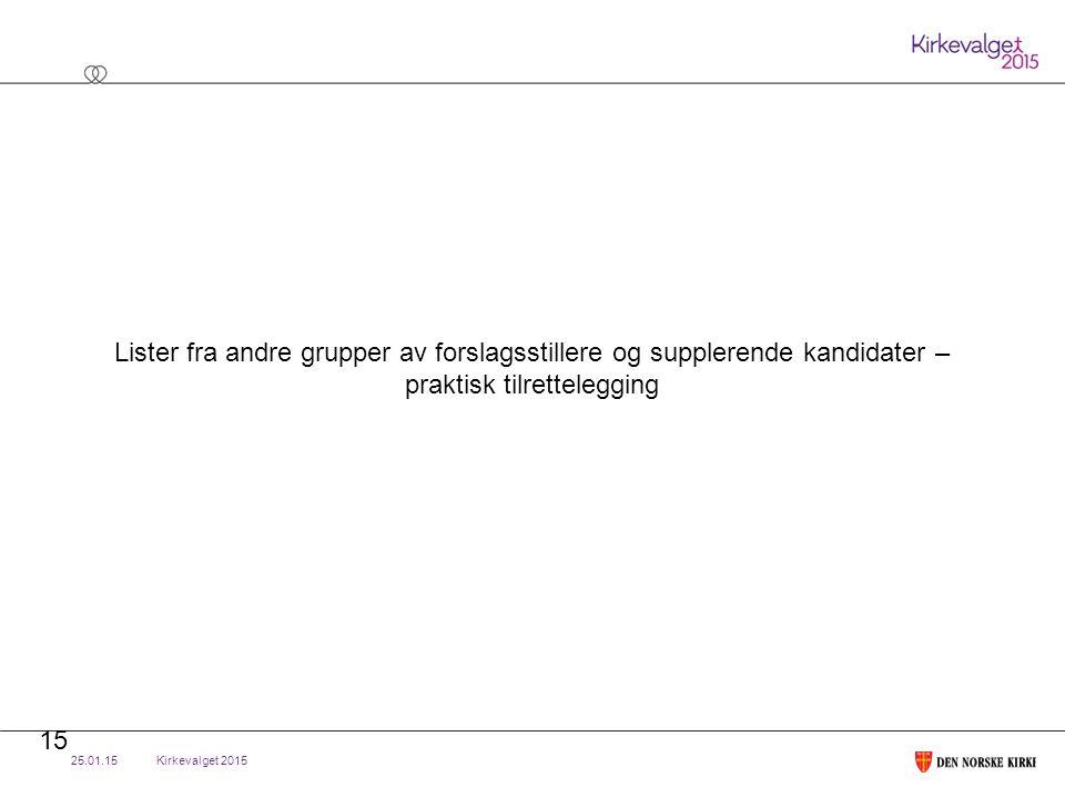 Kirkevalget 2015 Lister fra andre grupper av forslagsstillere og supplerende kandidater – praktisk tilrettelegging 25.01.15 15