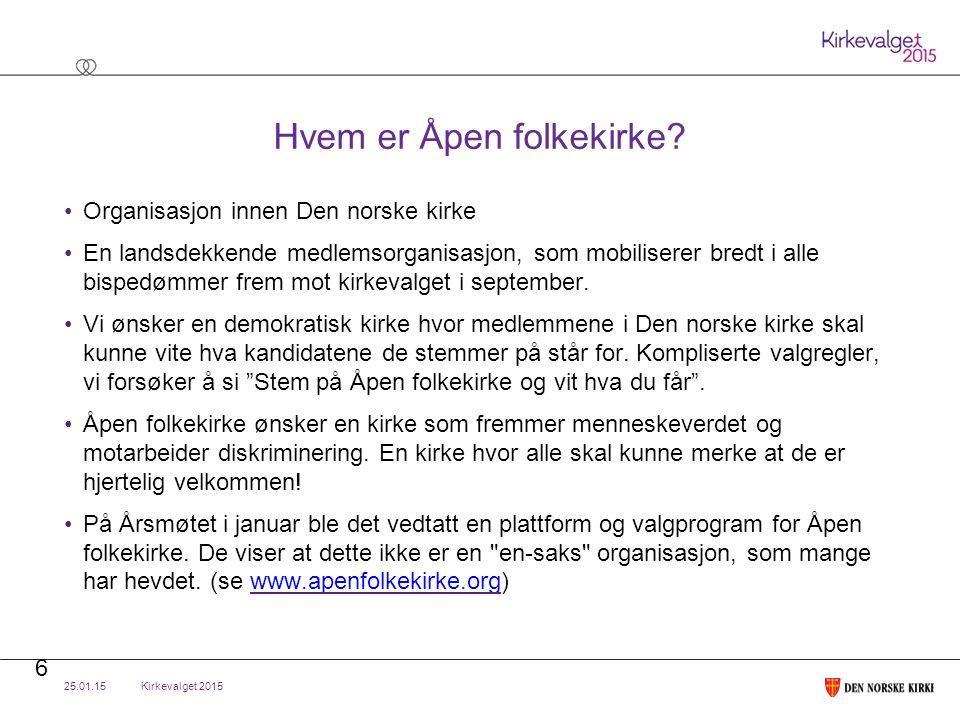 Kirkevalget 2015 Hvem er Åpen folkekirke.