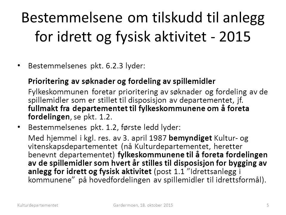 Bestemmelsene om tilskudd til anlegg for idrett og fysisk aktivitet - 2015 Bestemmelsenes pkt.